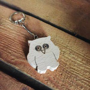 porte-clés hibou en bois de hêtre massif