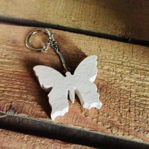 porte clé papillon en bois de hêtre massif