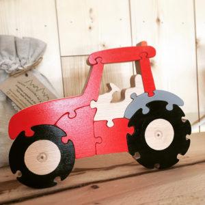puzzle tracteur rouge et gris en bois massif 9 pièces