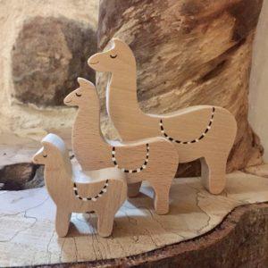 Trio de lamas en hêtre