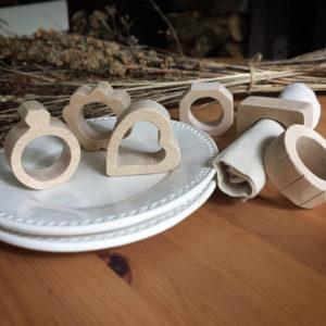 6 ronds de serviette en hêtre massif différentes formes